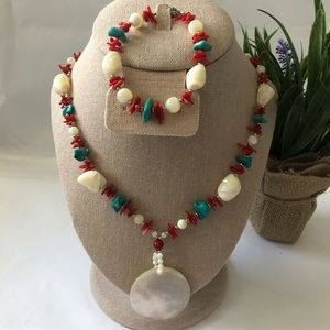 Turquoise and Red Coral Pendant and Bracelet